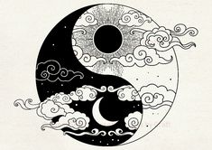 Custom Yin Yang Smart Screen Stencil by Craft Sun and Moon Ying Und Yang Tattoo, Ying Y Yang, Yin Yang Art, Yin Yang Tattoos, Sun Tattoos, Yin And Yang, Moon Sun Tattoo, Cool Art Drawings, Easy Drawings