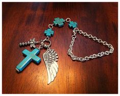 Rearview Mirror Charm, Rear View Mirror Charm, Christian Keychain, Beaded Cross Rearview Mirror Charm Blue Turquoise Cross Pendant with Angel Wing Mirror Ornaments, Car Ornaments, Cow Girl, Chapeau Cowboy, Jewelry Crafts, Handmade Jewelry, Christmas Gifts For Sister, Do It Yourself Inspiration, Angel Wing Pendant
