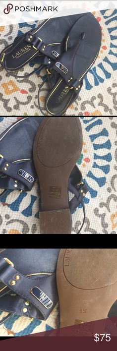 Ralph Lauren sandal Navy blue leather with gold hardware. Size 81/2 fits more like 8 as shoe runs small. No trades, No bartering, Price is firm. Lauren Ralph Lauren Shoes Sandals