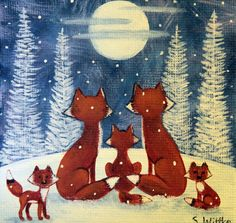 Winter Folk Art, Primitive Hand Painted Wood Block with Easel, Red Foxes Watches Moon on Snowy Night, MADE TO ORDER