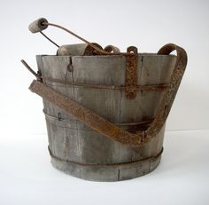 S A L E   Vintage Wood Mop Bucket with Wringer by urgestudio, $39.00