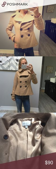 Banana republic wool pea coat Amazing jacket. Fitted and flattering. There is a tiny tear in the inside lining. 3 stitches and it would be fixed. Great shape. No signs of wear other than small tear inside coat Banana Republic Jackets & Coats Pea Coats