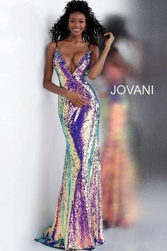 Jovani 67318 Floor length form fitting multi sequin prom dress features sleeveless spaghetti strap bodice with low v neck and v back with zipper. Sequin Prom Dresses, Jovani Dresses, Sexy Dresses, Strapless Dress Formal, Beautiful Dresses, Sparkly Dresses, Amazing Dresses, Mermaid Dresses, Formal Dress