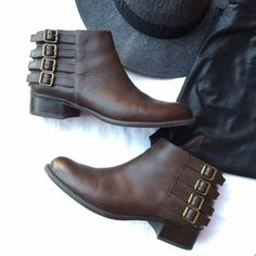 Franco Sarto Dark Brown Ankle Boots Amazing brown Chelsea booties with weathered hold buckle detailing and side zippers for easy on/off. Love the almond toe and sleek minimalist front because it flatters the feet and look really good with pants or skirts. Material is leather and man made upper; very comfortable and very well made. Franco Sarto is one of my favorite shoe brands because of their quality and craftsmanship. Worn only a handful of times, in excellent condition. Enjoy! Franco…