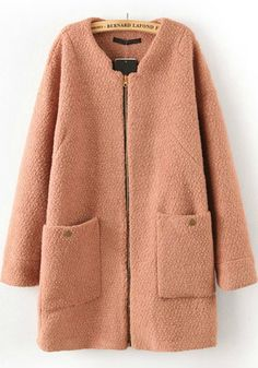 Camel Zipper Round Neck Thick Dacron Wool Coat