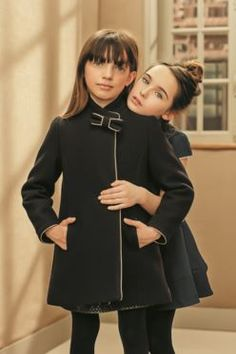Navy blue woollen coat embellished with a knot #FW15 #fall #winter # campaign #kidsfashion #navyblue #coat #knot