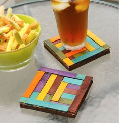 Crafts n' things Weekly - dyed basswood coasters (I could see making these from popsicle sticks too!)