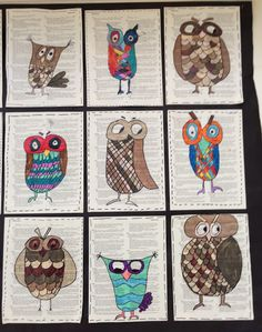 Apex Elementary Art: Owl always love art. Owl drawings on old book pages? Meets standard for using found objects Animal Art Projects, Fall Art Projects, Classroom Art Projects, School Art Projects, Art Classroom, Owl Art, Bird Art, Book Page Art, Ecole Art