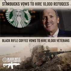 """We had to edit the original... We want to shift the conversation away from foreign policy to domestic issues that hit closer to home. We need to keep in mind that the four things we care about at BRCC are Family, Business, Veterans and country. And when we say """"country"""", the taxpayers. Everyone else can take a hike. Careers@blackriflecoffee.com"""