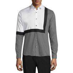 David Naman Men's Colorblock Cotton Shirt - Size L ($90) ❤ liked on Polyvore featuring men's fashion, men's clothing, men's shirts, men's casual shirts, multi, mens long sleeve shirts and mens casual long sleeve shirts