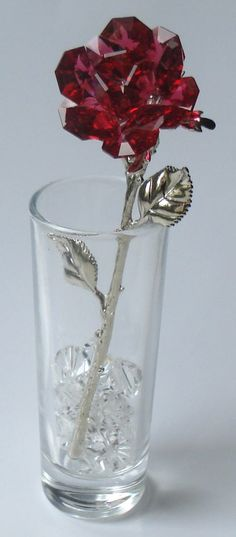 Red Crystal Rose made using Swarovski Crystal in by BJCRYSTALGIFTS