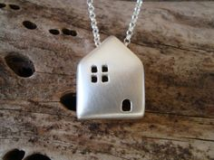 Sterling Silver House Necklace House Pendant Cottage Home Necklace Pendant Gift for Her minimal artisan Necklace