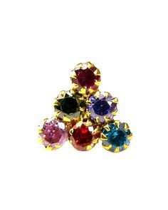 Ethnic Indian Multicolor CZ Piercing Nose stud Pin Solid Real 14k Yellow Gold