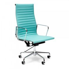 Turquoise short back ribbed Eames style Office Chair. Cult Furniture offers a colourful variations Eames Office Chairs as Next Day Delivery within the UK. Tiffany Blue Office, Bleu Tiffany, Tiffany Blue Rooms, Office Chairs Online, Home Office Chairs, Office Decor, Office Furniture, Office Ideas, Desk Ideas