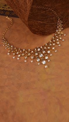 AZVA polki diamond necklace with pearls Indian Jewelry Earrings, Indian Jewelry Sets, Fancy Jewellery, Jewelry Design Earrings, Gold Jewellery Design, Bridal Jewelry, Wedding Jewelry Sets, Handmade Jewellery, Necklace Designs