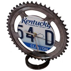 Hand made clock on real motor parts