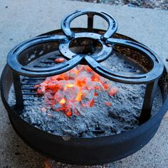 CAMPING TRIVET, dutch oven cooking, grate, cast iron pot over fire stand, campfire, horseshoes, outdoors fire pit, Made to Order. $59.00, via Etsy. - rugged life