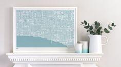 Brighton Type Map decorative screen print by boldandnoble on Etsy