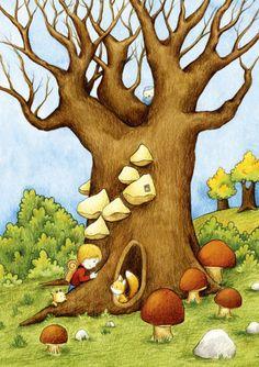"""Bilder - Kinderzimmerbild """"Herbstwanderung"""" - ein Designerstück von Martina_Hoffmann bei DaWanda"""