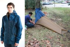 vessel coat: 3-in-1 jacket turns into a backpack and a tent  Anyone going backpacking around Europe?  Would loved to have had this.