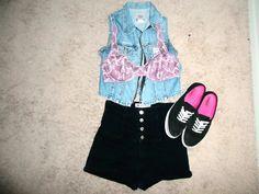 #summer #style #highwaistedshorts #vans #vest #bralette