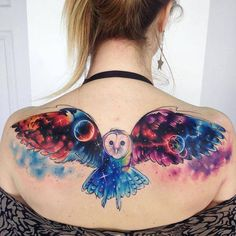 Double exposure galactic owl tattoo on the upper back. Done at NVMEN