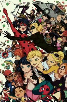 Big illustration with lots of characters Miraculous: Ladybug and Chat Noir Cat Noir Ilenia Gennari ( Ladybug E Catnoir, Comics Ladybug, Ladybug Und Cat Noir, Anime Miraculous Ladybug, Miraculous Ladybug Christmas, Les Miraculous, Plagg Miraculous, Miraculous Ladybug Wallpaper, Marinette And Adrien