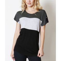 Zenana Charcoal & Black Color Block Tee ($9.99) ❤ liked on Polyvore featuring tops, t-shirts, color-block tee, charcoal gray t shirt, colorblock tee, colorblock top and colorblock t shirt