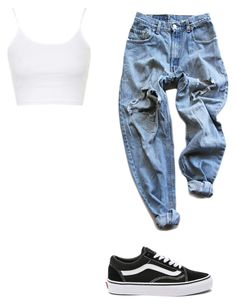 """Untitled #157"" by alessiacaravetta on Polyvore featuring Levi's, Topshop and Vans"