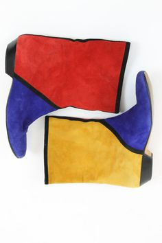 80s Andrea Pfister Boots 6.5 / 1980s Vintage Suede Colorblock Mod Boots / The…