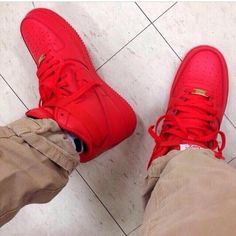 High top red Nike Air Force 1s.. Yip THE LOVE FOR THIS IS SO REAL.... MY Favourite color