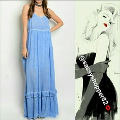 'GEMMA' Blue maxi dress Brand new no tags Boutique item Price is firm   Fabulous blue mineral wash gypsy maxi dress! Pair with sandals and a floppy hat!   Adjustable strapsPartial lining100%rayon    Dresses Maxi