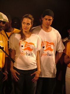 pregnant Angelina traveled to Haiti with Brad. The couple visited a school supported by Yele Haiti, a charity founded by Wyclef Jean, where they watched children dance and recite poetry. January 2006.