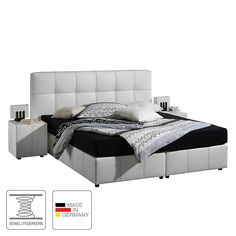Boxspringbett Annabel - 160 x 200cm - H3 ab 80 kg - Bonellfederkernmatratze - Weiß, Monaco Jetzt bestellen unter: https://moebel.ladendirekt.de/schlafzimmer/betten/boxspringbetten/?uid=853bdcc6-1d40-5cb5-a8b3-322219a59057&utm_source=pinterest&utm_medium=pin&utm_campaign=boards #möbel #betten #boxspringbetten #monaco #schlafzimmer