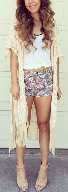 CASUAL FRIENDS  i love this longline kimono & the floral shorts & white tee combo. i think i'd swap the shorts for a floral a-line skirt :)  season: spring/summer