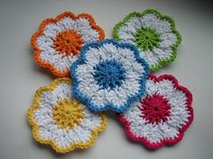 Click on download link below to get pattern.  And if you'd like to see a springtime coaster being made, Connie from Easy Video Crochet  ma...