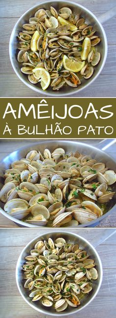 Portuguese Recipes 11464 Prepare a special appetizer for your family or friends. Try this typical Portuguese recipe of clams, the lemon juice aroma and the chopped coriander gives it a special taste that everyone will like… Clam Recipes, Seafood Recipes, Crockpot Recipes, Healthy Recipes, Appetizers For A Crowd, Seafood Appetizers, Appetizer Recipes, Portuguese Recipes, Seafood