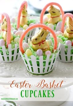 Floral Friday: Teapot Bouquets + Lakeside Table by the Azaleas – Home is Where the Boat Is Easter Peeps, Easter Brunch, Easter Treats, Easter Food, Hoppy Easter, Easter Decor, Sour Punch Straws, Cupcake Wraps, Easter Cupcakes