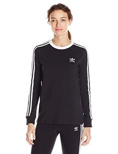 adidas Originals Womens 3Stripes Long Sleeve Tee Black L *** You can find more details by visiting the image link.Note:It is affiliate link to Amazon.