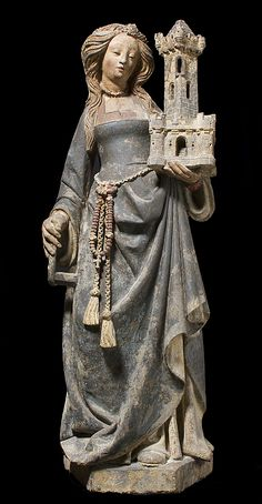 Saint Barbara sculpture ca.1500 North France. Limestone, paint & gilt. Gift to Metropolitan Museum in 1950 from Mrs. Solomon R. Guggenheim. (source: metmuseum.org)