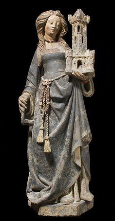 Saint Barbara sculpture ca.1500 North France. Limestone, paint & gilt.  Gift to Metropolitan Museum in 1950 from Mrs. Solomon R. Guggenheim.  (source: metmuseum.org)