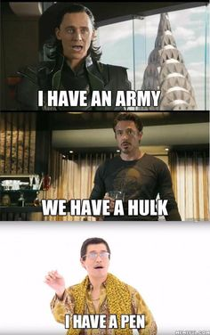 Funny PPAP Memes About Army vs. Piko Taro - Funny Superhero - Funny Superhero funny meme - - Funny PPAP Memes About Army vs. Piko Taro The post Funny PPAP Memes About Army vs. Piko Taro appeared first on Gag Dad. Avengers Humor, Marvel Jokes, Funny Marvel Memes, Dc Memes, Crazy Funny Memes, Really Funny Memes, Stupid Funny Memes, Funny Relatable Memes, Marvel Avengers