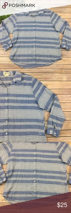Lili's Closet blue stripe button front top Lili's Closet for Anthropologie blue striped button front shirt, size XL. It is free from any rips or stains. It measures about 50 inches around the bust and is about 27 inches long. Anthropologie Tops Button Down Shirts
