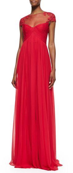 Monique Lhuillier Cap-Sleeve Lace Illusion Gown, Wild Orchid on shopstyle.com
