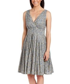 Look what I found on #zulily! Navy Floral Pleated Sleeveless Dress #zulilyfinds