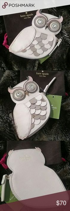 """Hard To Find!  Kate Spade New York Owl Coin Purse! Kate Spade Satin And Shimmering paillettes To Craft This Sweet Coin Purse In The Guise Of An Owl. It's A Real Hoot And Sure To Be A Conversation Starter. Part Of Blaze A Trail Collection. Colors Are Cream, Pink And Gray.  Made Of Satin With Sequin Embroidery And Smooth Metallic Leather Trim. 14k Light Gold Plated Hardware. Custom Woven Caroleena Spade Dot Pink Lining. 5 1/2""""(T) X 4 1/2""""(W).  Comes In A Kate Spade Pouch. Fast Shipping! kate…"""