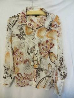 Essentials by ABS Size 10 Blouse Ruffles Snaps Made in USA EUC #EssentialsbyABS #Blouse #Career