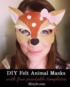 DIY Felt Animal Masks with printable templates - illistyle.com