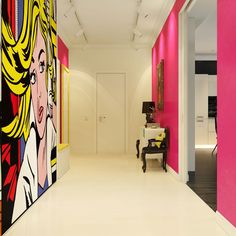 This Modern Pop Art Interior was visualized by Dmitriy Schuka. The décor makes use of a wide gamma of bright colors and the inclusion of the work of a famous American pop artist, Roy Lichtenstein.                     Renderings courtesy of Dmitriy Schuka