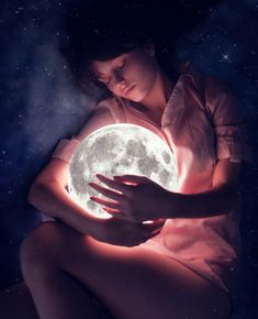 Say hello to the moon by belinak on DeviantArt Moonlight Photography, Moon Photography, Creative Photography, Landscape Photography, Beautiful Fantasy Art, Beautiful Moon, Moon Pictures, Moon Goddess, Photoshop Cs5